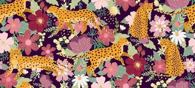 Leopards surrounded by beautiful flowers. elegant summer vector seamless pattern texture in trendy style.