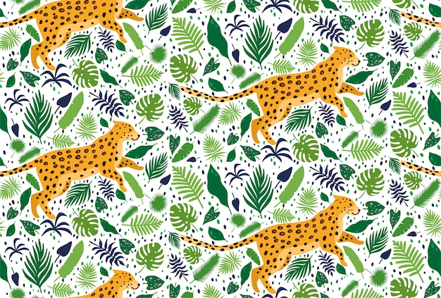 Leopards surrounded by tropical palm leaves. elegant summer vector seamless pattern