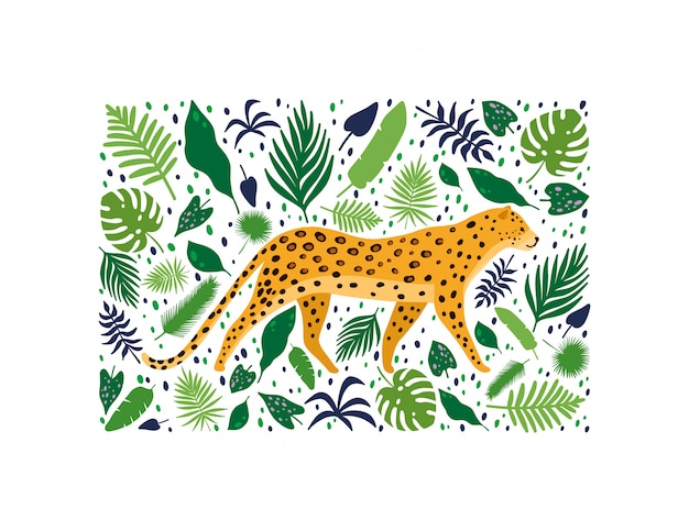 Leopards surrounded by tropical palm leaves
