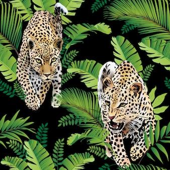 Leopards пальмовых листьев тропических акварель в джунглях бесшовного фона