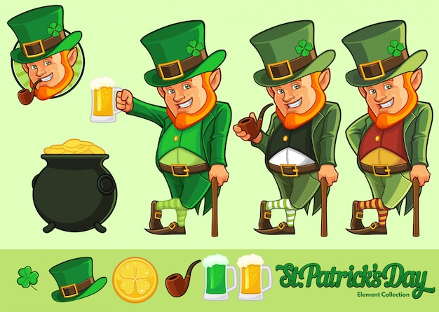 Leprechaun cartoon and element collection for st.patrick's day celebration with optional color