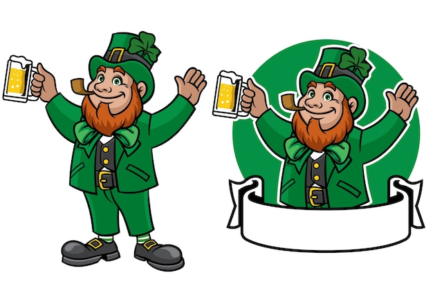 Leprechaun character design with banner