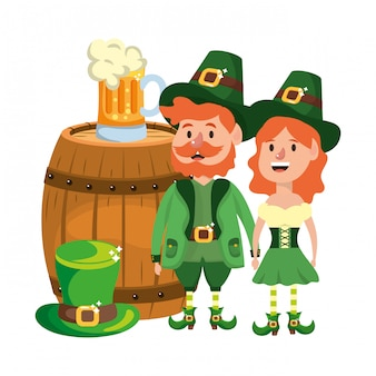 Leprechaun couple with barrel