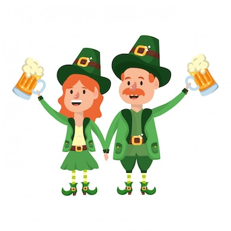Leprechaun couple with beer