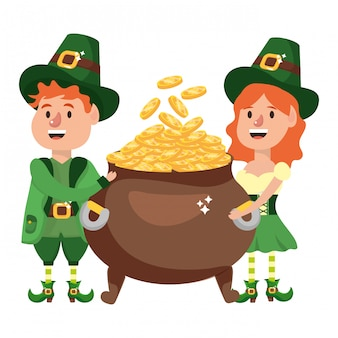 Leprechaun couple with pot of gold