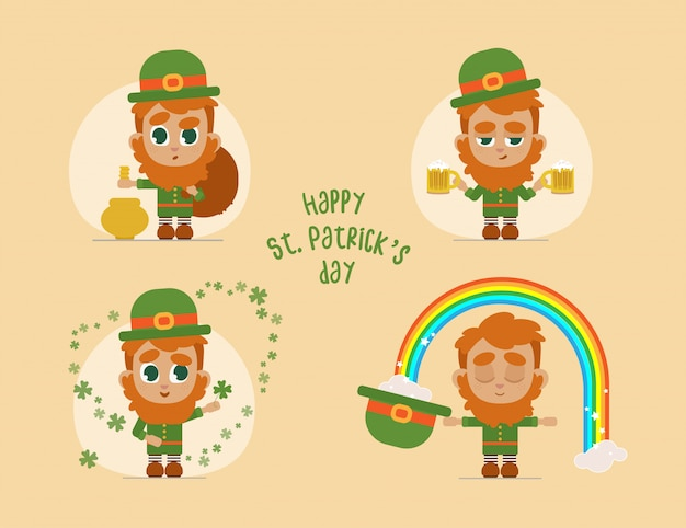 Leprechaun flat cartoon set with different emotions
