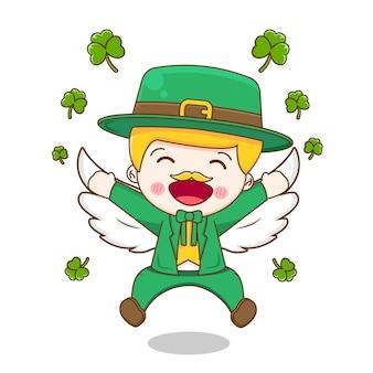 翼で飛んでいるレプラコーン聖パトリックの日の漫画のキャラクターは白い背景で隔離。
