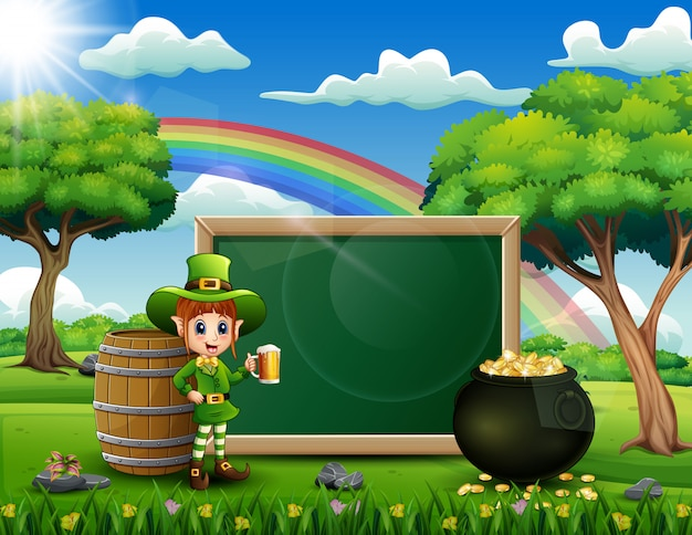 Leprechaun girl with a chalkboard sign with nature
