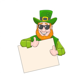 Leprechaun in glasses with a banner st. patrick's day.