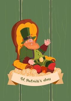 Leprechaun on happy st. patricks day holiday greeting card background