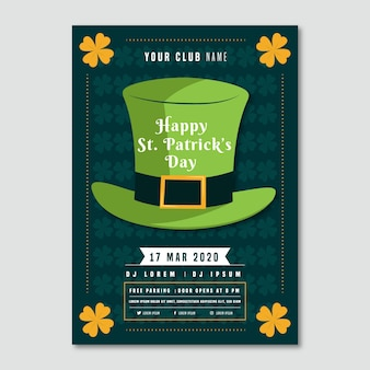 Leprechaun hat and clovers st. patrick's day flyer