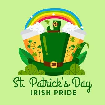 Cappello leprechaun con birra e arcobaleno st. giorno di patrick