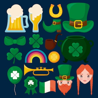 Leprechaun hat with set of characters, trevol and beers