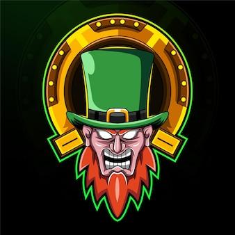Leprechaun head esport mascot logo