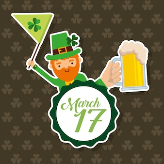 Leprechaun holding flag and beer march 17 celebration