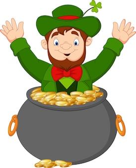 Leprechaun inside of a pot of gold