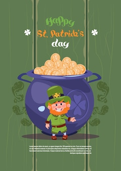 Leprechaun man over big pot with golden coins happy st. patricks day holiday greeting card background