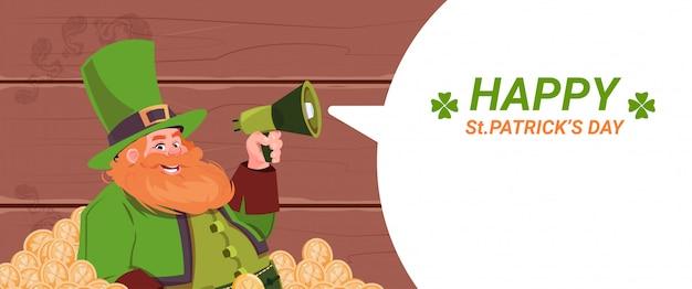 Leprechaun man holding megaphone, happy st. patricks day holiday template background