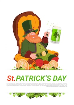 Leprechaun man sitting in armchait and drinking beer on st. patricks day card background