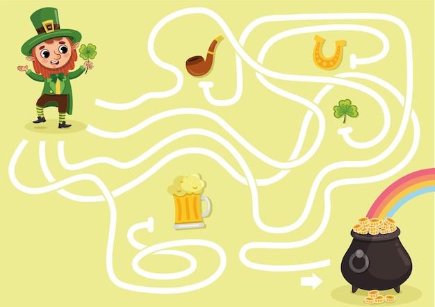 Leprechaun maze game for kids vector illustration