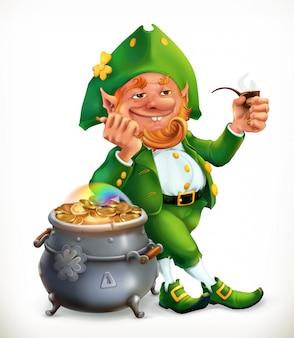Leprechaun and pot of gold coins.