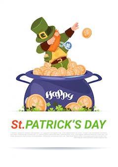 Leprechaun on pot with golden coins over happy st. patricks day template