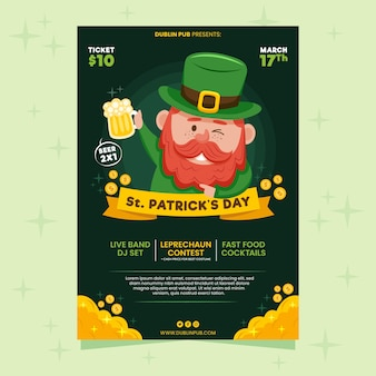 Leprechaun winking and holding beer st. patrick's day flyer