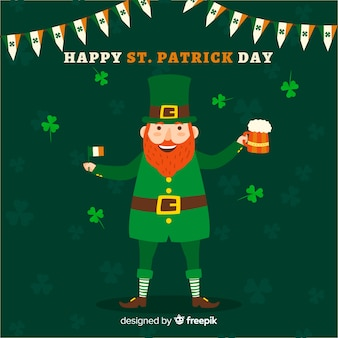 Leprechaun with beer st patrick's day background