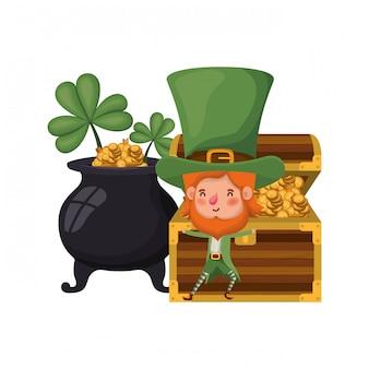 Leprechaun with cauldron avatar character