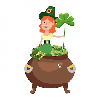 Leprechaun with pot of clovers