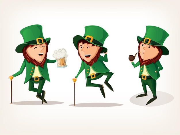 Leprechauns dancing drinking and smoking pipe.