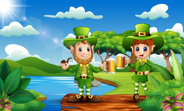 Leprechauns holding a beer mug in the nature
