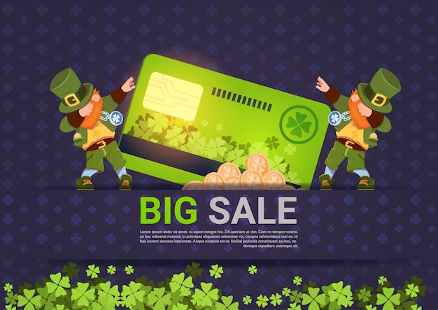 Leprechuns hold credit card sale for st. patricks day holiday template background