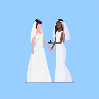Lesbian brides couple same gender happy married homosexual family wedding concept two mix race girls standing together female cartoon characters full length flat