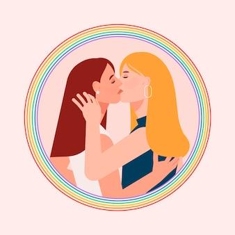 フラットなデザインスタイルでレズビアンカップルのキス