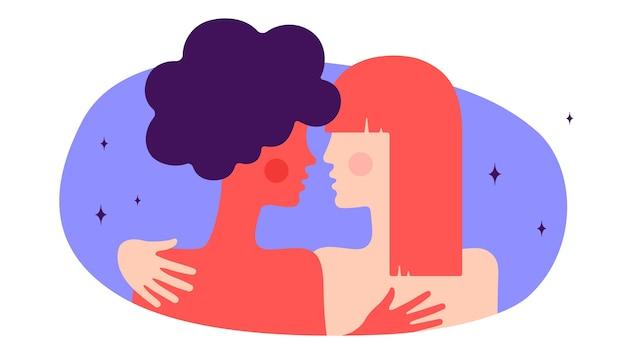 レズビアンカップル。モダンなフラットキャラクター。二人の女性が抱き合って、ロマンチックな愛