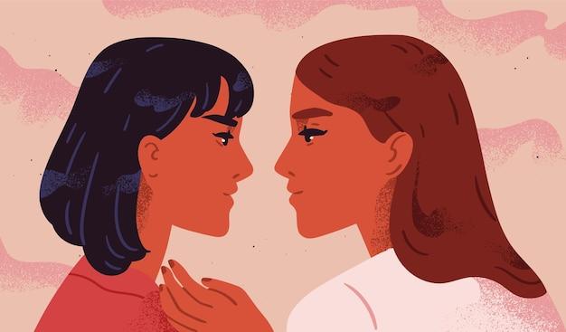 Лесбийская пара. портрет очаровательных молодых женщин, флиртующих друг с другом. гомосексуальные романтические партнеры на свидании