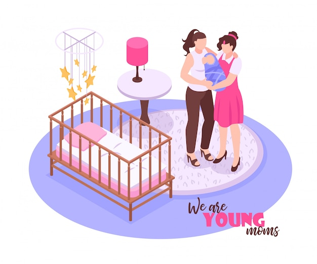 Lesbian couple and their child standing in nursery room on white  3d isometric