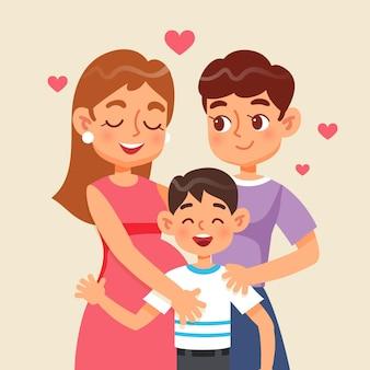 図解された子供とレズビアンのカップル