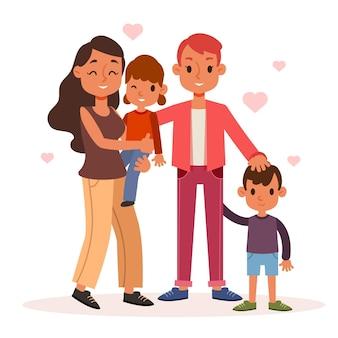 Лесбийская пара с ребенком на иллюстрации