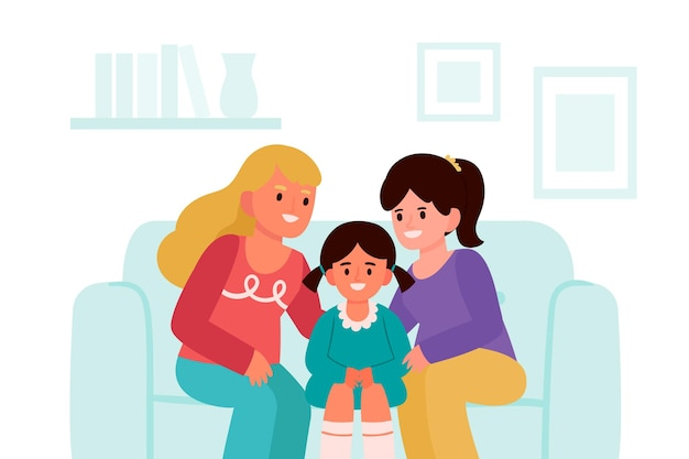 Lesbian couple with a child illustrated
