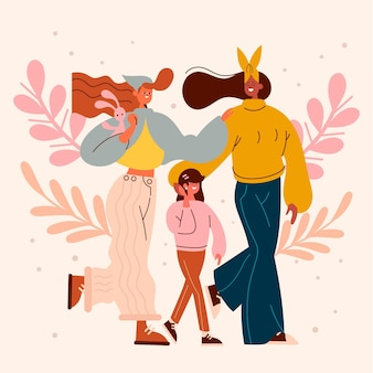 Lesbian couple with their daughter illustrated