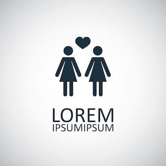 Lesbian icon on white background