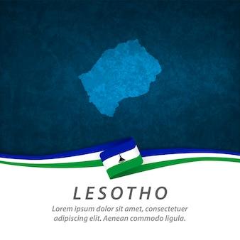 중앙지도와 레소토 깃발