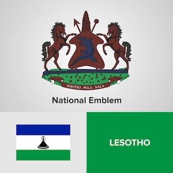 Lesotho national emblem and flag