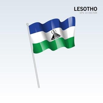 레소토 회색에 고립 된 깃발을 흔들며