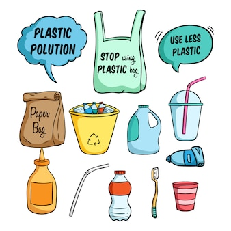 Less plastic illustration for go green and using colored doodle style