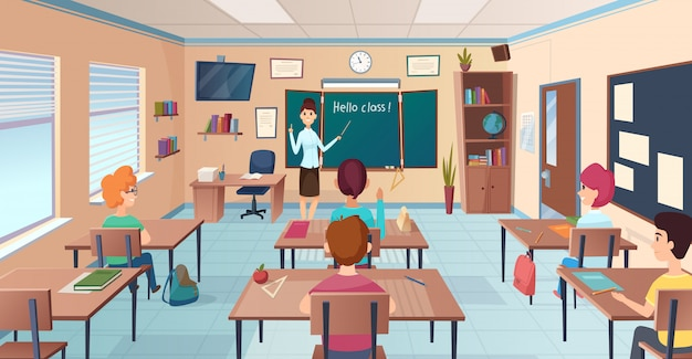 Lesson in classroom. pupils at desks and teacher standing and pointing kids study near chalkboard  cartoon background