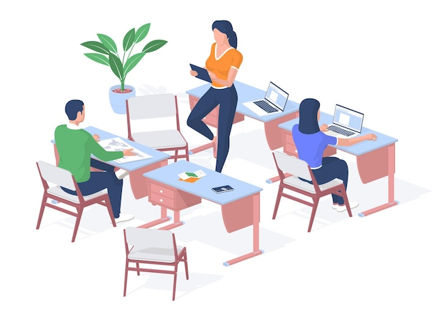 Lesson in modern college. student examines map of world on desk. teenager works laptop. teacher with tablet checks assignments. learning online gadgets and technology. vector realistic isometry
