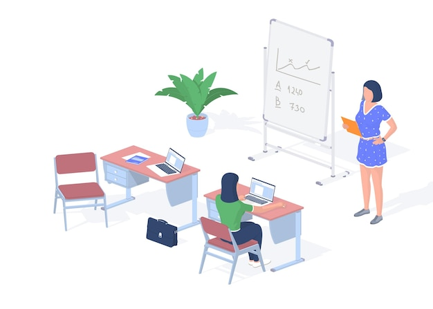 Lesson in modern digital classroom. teenager with laptop sits desk. teacher near blackboard with tablet giving lecture. online technologies for successful learning. vector realistic isometry